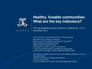 Healthy,  liveable  communities: What are the key indicators?
