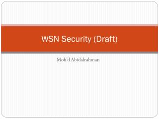WSN Security (Draft)