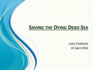 Saving the Dying Dead Sea