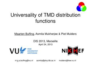 Universality  of TMD  distribution functions