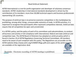 Read Antitrust Statement