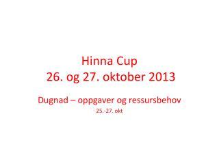 Hinna Cup  26. og 27. oktober 2013