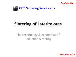 Sintering of Laterite ores