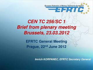 CEN TC 256/SC 1 Brief from plenary meeting Brussels ,  23.03.2012