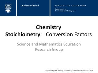 Chemistry Stoichiometry :  Conversion Factors