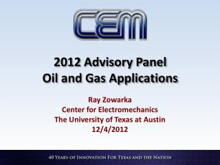 2012 Advisory Panel Oil and Gas Applications