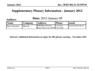 Supplementary Plenary Information - January 2012
