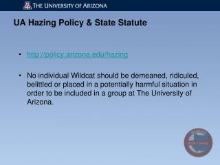 UA Hazing Policy & State Statute