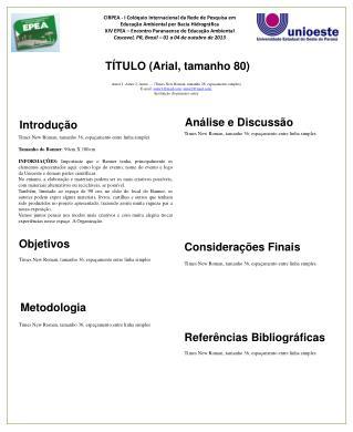 TÍTULO (Arial, tamanho 80)