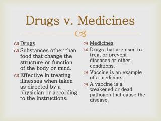 Drugs v. Medicines
