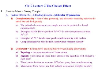 Ch12 Lecture 2 The Chelate Effect