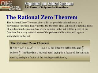 EXAMPLE: Using the Rational Zero Theorem