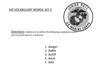 SAT VOCABULARY WORDS: SET 3