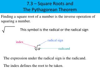 7.3  –  Square Roots and The Pythagorean Theorem
