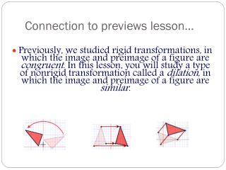 Connection to previews lesson�