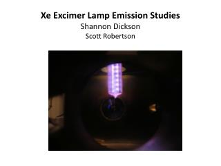 Xe  Excimer Lamp Emission Studies Shannon Dickson Scott Robertson