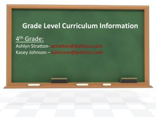 Grade Level Curriculum Information
