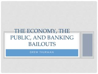 tHE eCONOMY , the public, and banking Bailouts