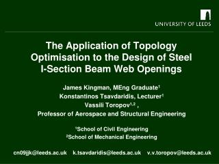 The Application of Topology  Optimisation  to the Design of Steel   I-Section Beam Web Openings