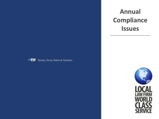 Annual Compliance Issues ______________________________