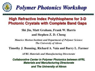 High Refractive Index Polythiophene for 3-D Photonic Crystals with Complete Band Gaps