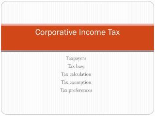 Corporative Income Tax