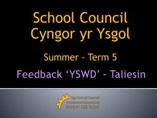 Feedback 'YSWD' – Taliesin