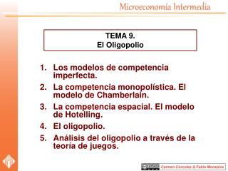 Los modelos de competencia imperfecta. La competencia monopolística. El modelo de Chamberlain.