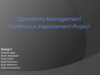 Operations Management Continuous Improvement Project