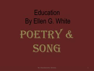 Education  By Ellen G. White