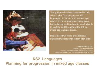 KS 2   Languages Planning for progression in mixed  age  classes