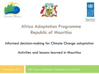 Africa Adaptation Programme  Republic of Mauritius