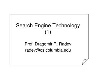 Search Engine Technology 1