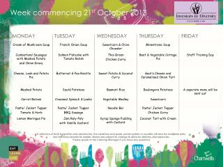 Week commencing  21 st  October 2013
