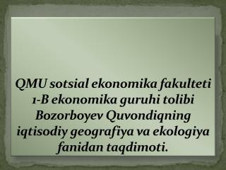 MAVZU:  ISHLAB CHIQARISHNI HUDUDIY TASHKIL ETISHNING ASOSIY OMILLARI.                    REJA :