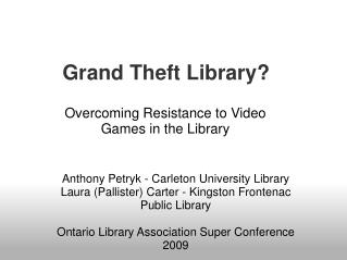 Grand Theft Library?