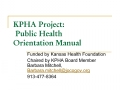KPHA Project:  Public Health  Orientation Manual
