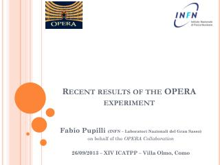 Recent results of the OPERA experiment
