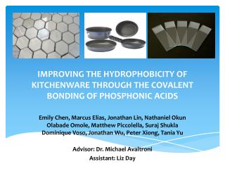 IMPROVING THE HYDROPHOBICITY OF KITCHENWARE THROUGH THE COVALENT BONDING OF PHOSPHONIC ACIDS