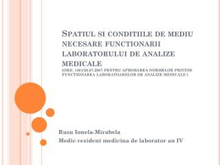 Rusu Ionela-Mirabela Medic rezident medicina de laborator an IV