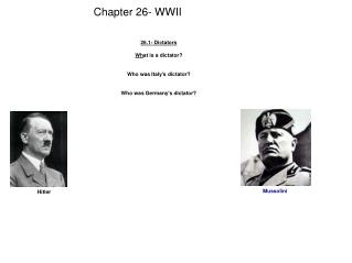 Chapter 26- WWII