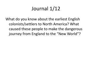 Journal 1/12