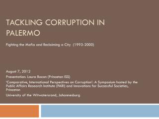 Tackling Corruption in Palermo
