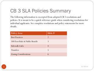 CB 3 SLA Policies Summary