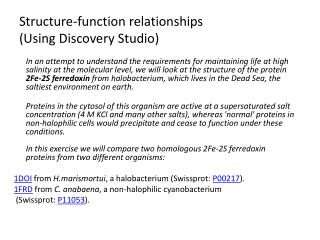 Structure-function relationships (Using Discovery Studio)