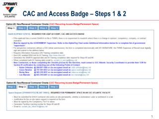 CAC and Access Badge – Steps 1 & 2