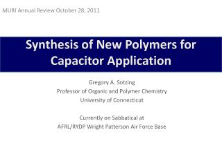 Synthesis of New Polymers for Capacitor Application