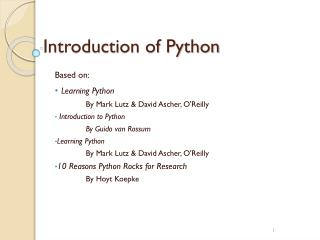 Introduction  of Python