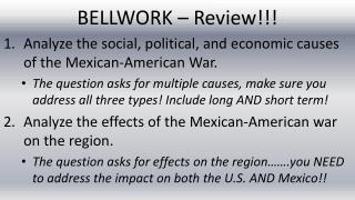 BELLWORK – Review!!!