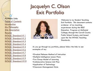 Jacquelyn C. Olson  Exit Portfolio